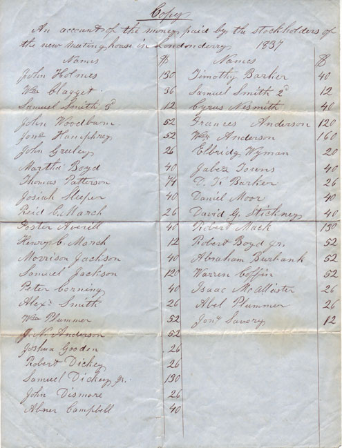 An account of the stockholders of the new meeting house in Londonderry from 1837