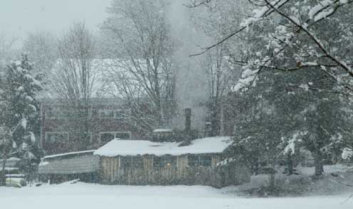 Peterson Sugar House in the snowfall of March 28th 2008 Londodnerry, New Hampshire