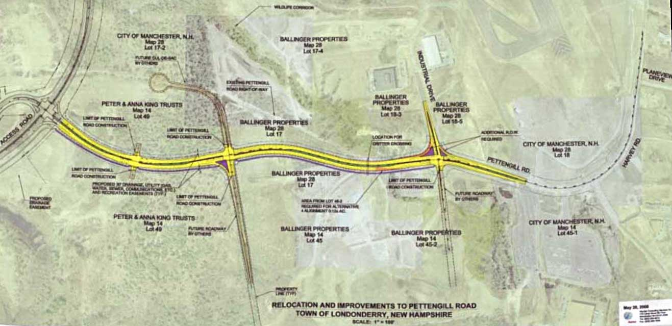 Pettingill Road Plans Mid 2008, Londonderry, New Hampshire Airport Access Road project