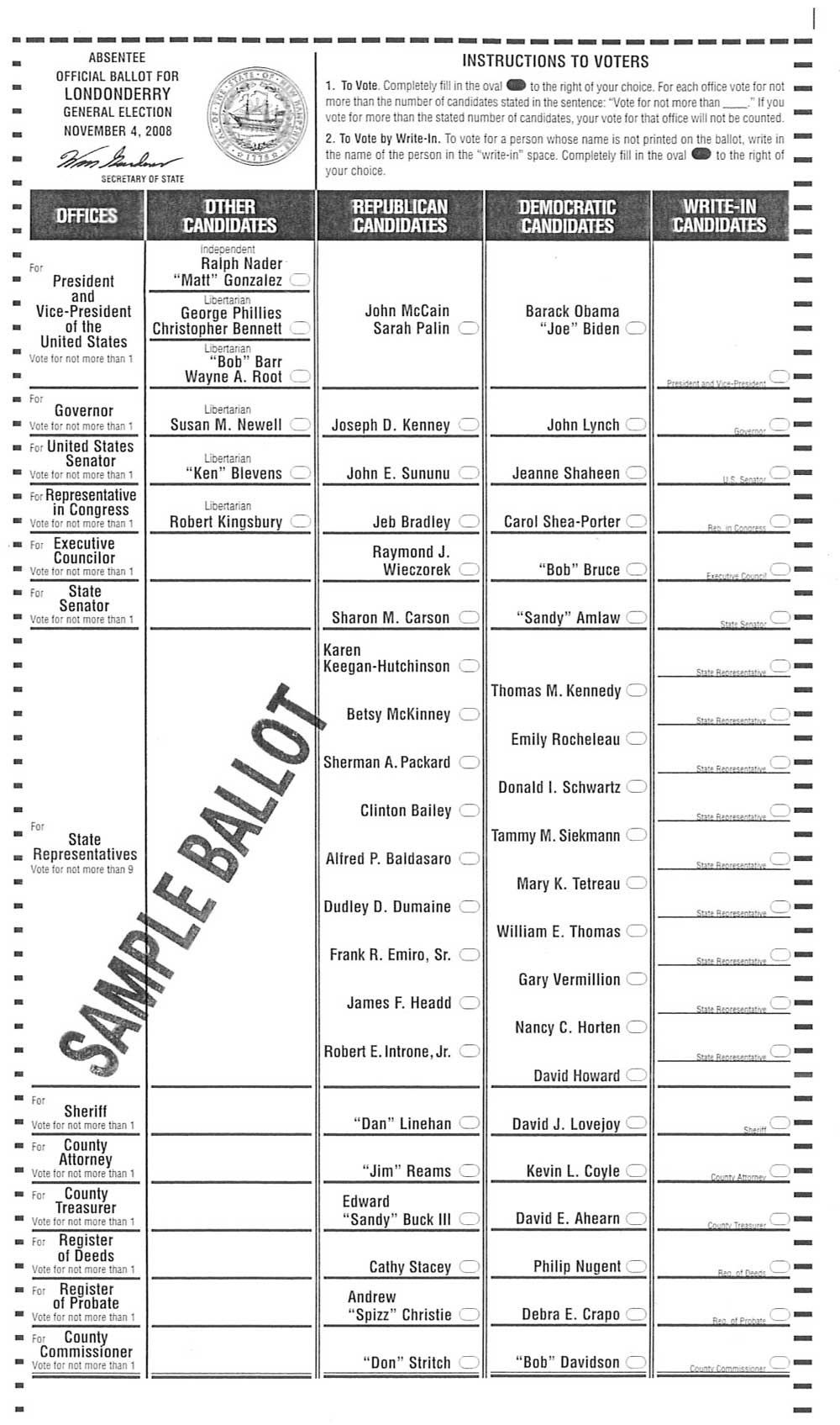 State primary election sample ballots for september 11, 2018.