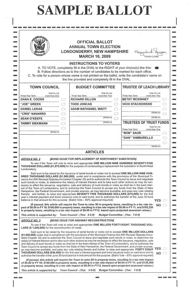 Londonderry Absentee Voting & Sample Ballots – Londonderry News