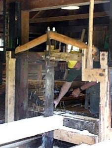 Taylor Mill near Londonderry in Derry NH, working vertical saw from 1810 run by water