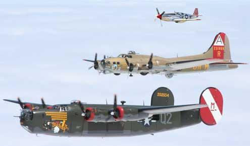 The Collings Foudation B-18, B-24 and P-51 in flight come to Londonderry NH Manchester-Boston Regional Airport every fall