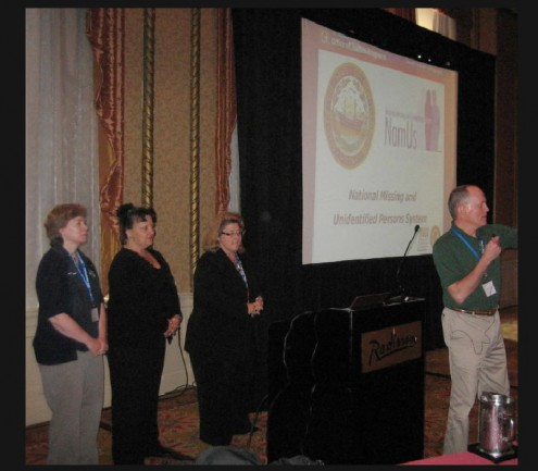 From Left to Right; Kim Fallon, NH Office of Chief Medical Examiner, Chief Forensic Investigator,  Cynthia Caron,President-Founder of LostNMissing, Inc. and NamUs NH Advocate, Mary Kay MacNichol, NH State Police , CJIS Systems Officer, and  Dr. Richard R. Scherf, DMD,  Forensic Odontologist  (not pictured is Jill Rockey NH State Police, Family Services Division)