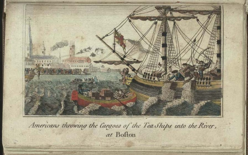 A depiction of Americans throwing tea over the side of boats during the Boston Tea Party