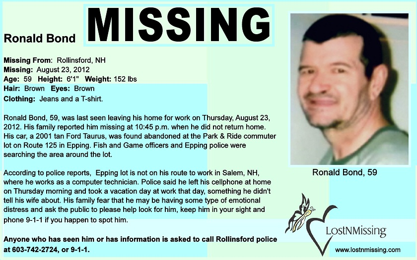 Earthly Body may be Mr. Ronald Bond, age 59 of Rollinsford NH ...