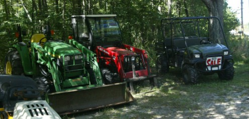 "Tractors and Gator at ""Lawn Mower Man"" four arrested attempting to steal them September 16th 2012"
