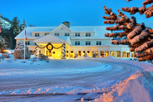 Winter Dawn at the White Mountian Hotel in New Hamsphire